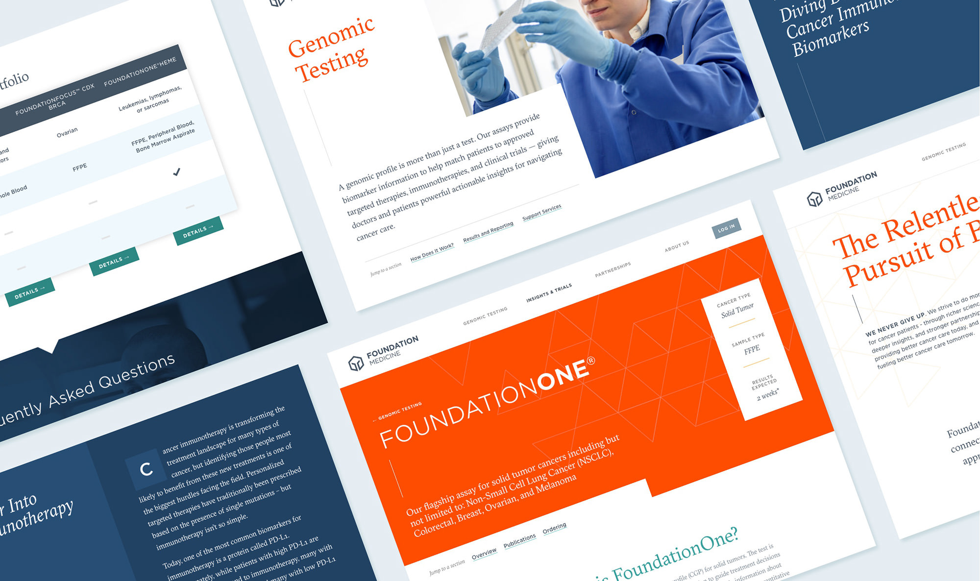 Tiled grid of screenshots from the homepage, Genomic Testing page, and FoundationOne page