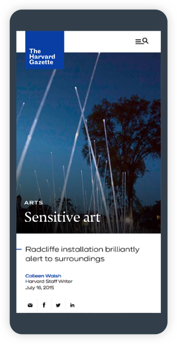 Harvard Gazette article titled Sensitive Art: Radcliffe installation brilliantly alert to surrounds (in iPhone)