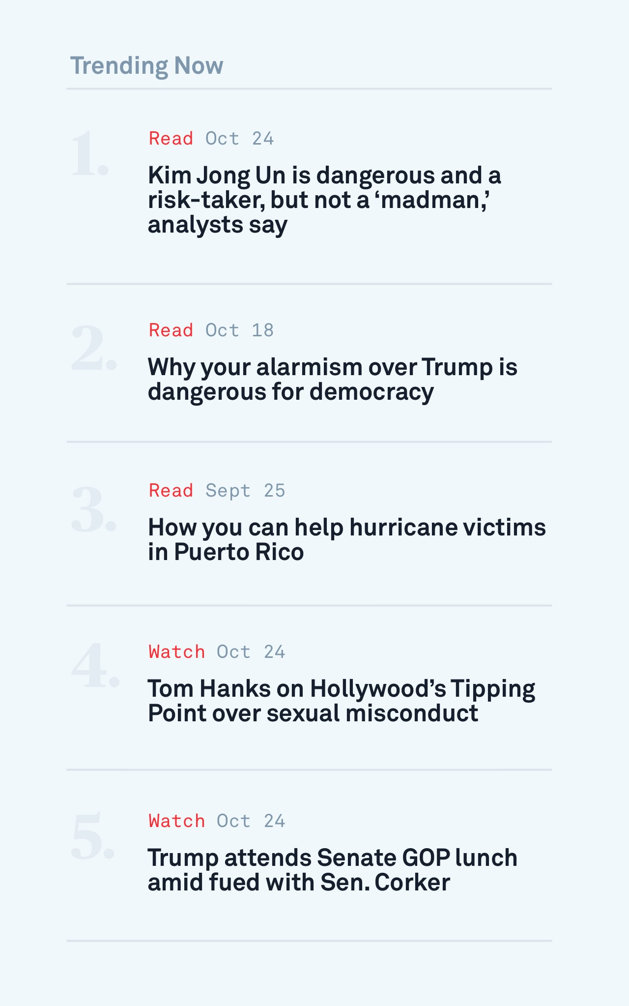Screenshot of an example trending topics list from the PBS NewsHour site.