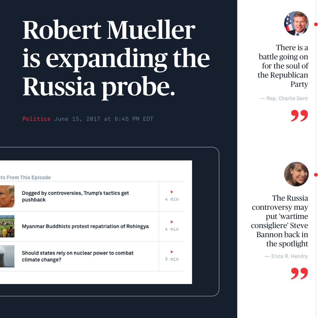 Screenshot from the PBS newshour site that reads, 'Robert Mueller is expanding the Russia probe', and shows a smartphone view of episode segments.