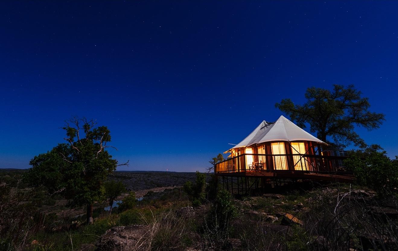 Luxury tent under night skey