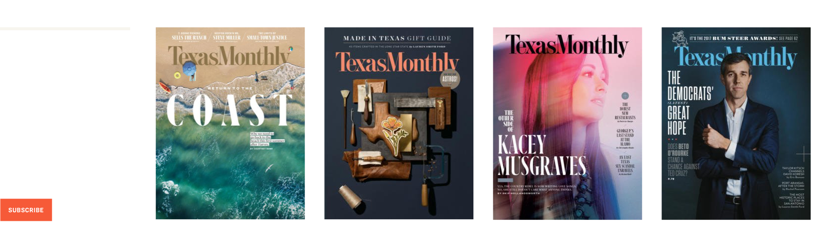 Subscribe Today with Texas Monthly magazine covers