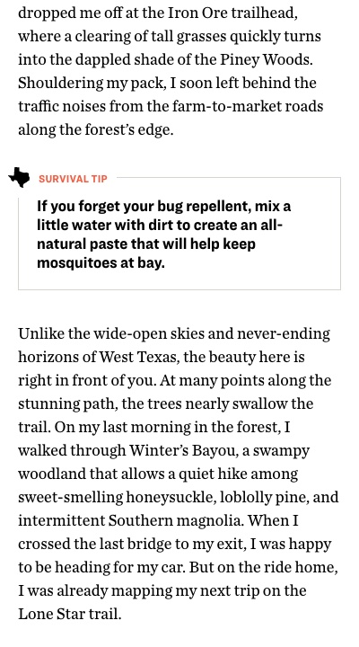 Pullquote: if you forget your bug repellant, mix a little water with dirt to create an all-natural paste that will help keep mosquiteoes at bay