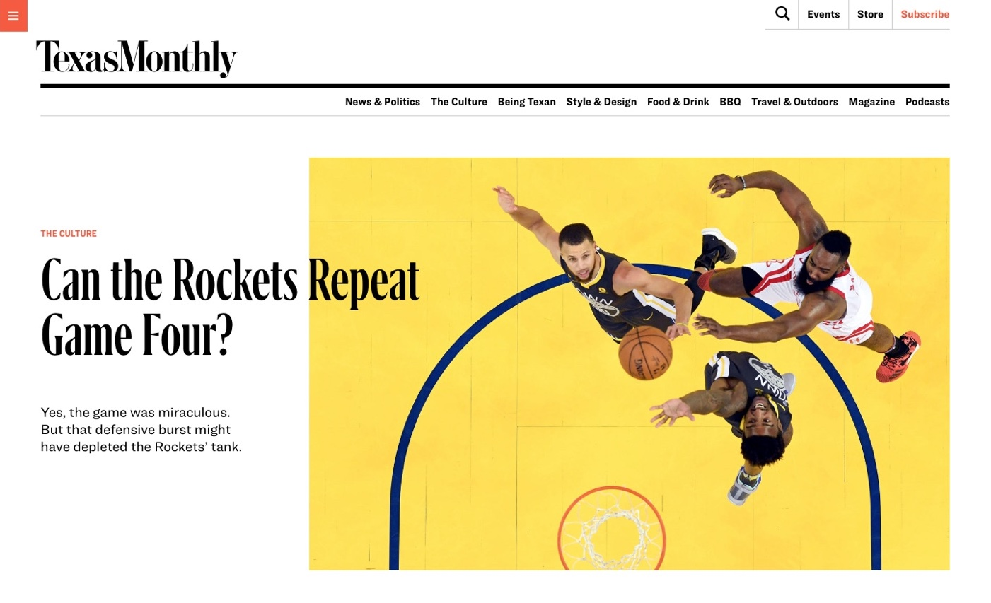 Texas Monthly article topper: Can the Rockets Repeat Game Four?