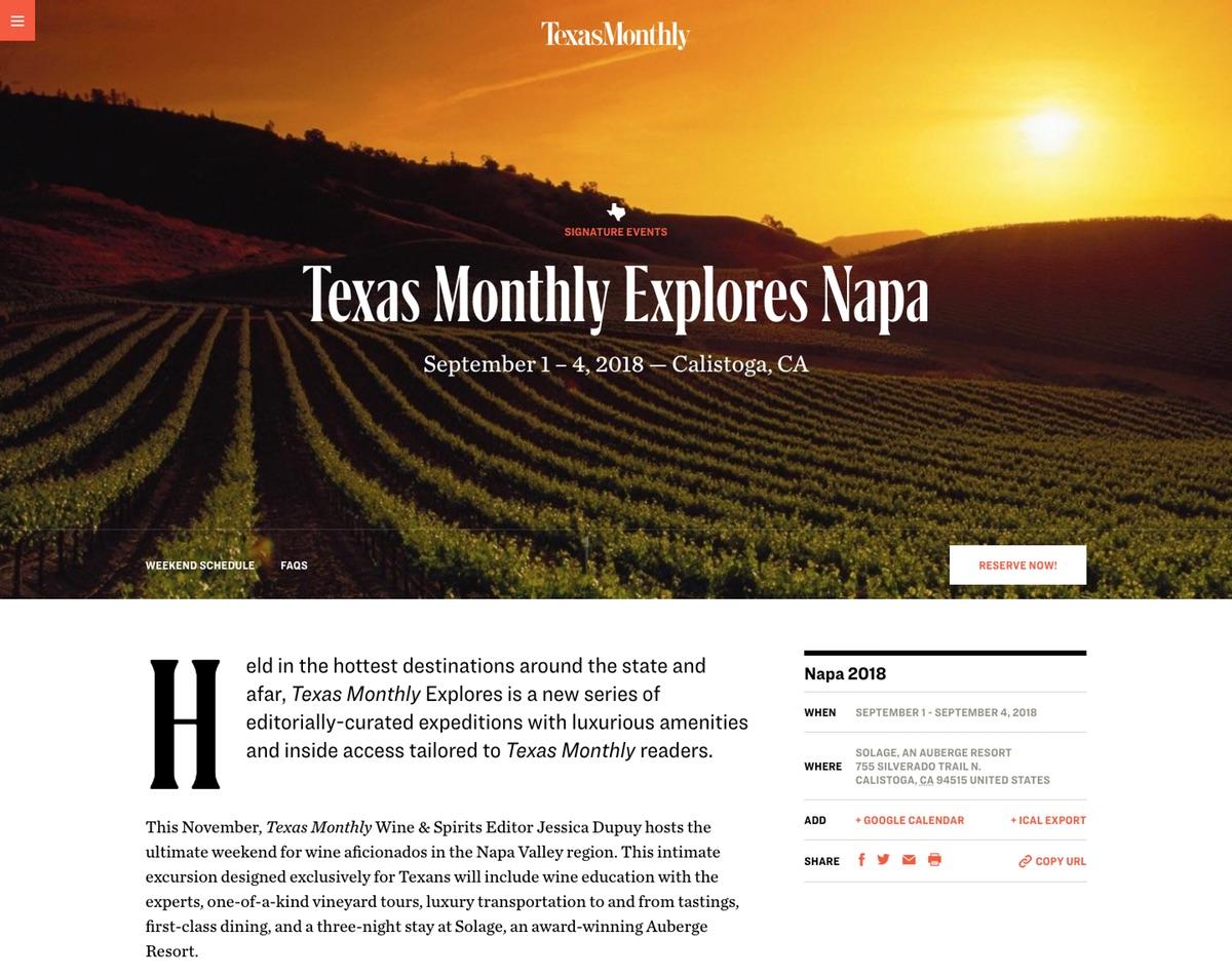 Texas Monthly Explores Napa 2018