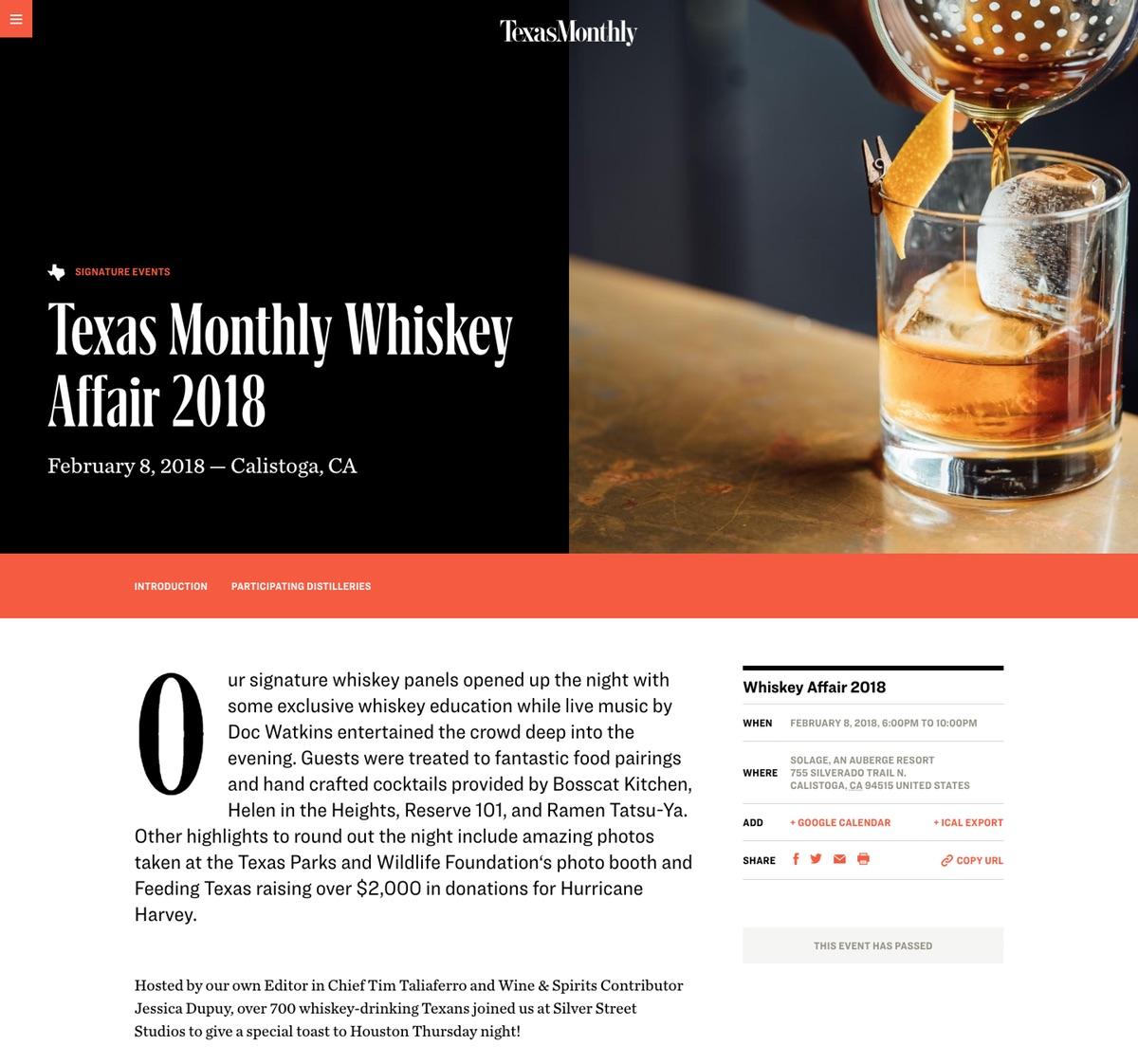 Texas Monthly Whiskey Affair 2018