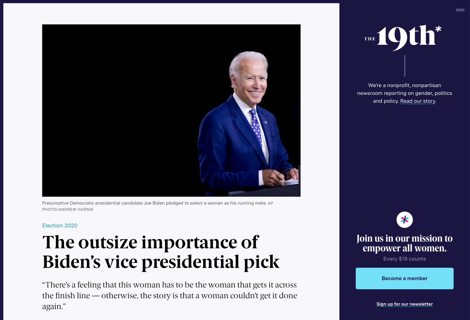 Article: The outsize importance of Biden's vice presidential pick