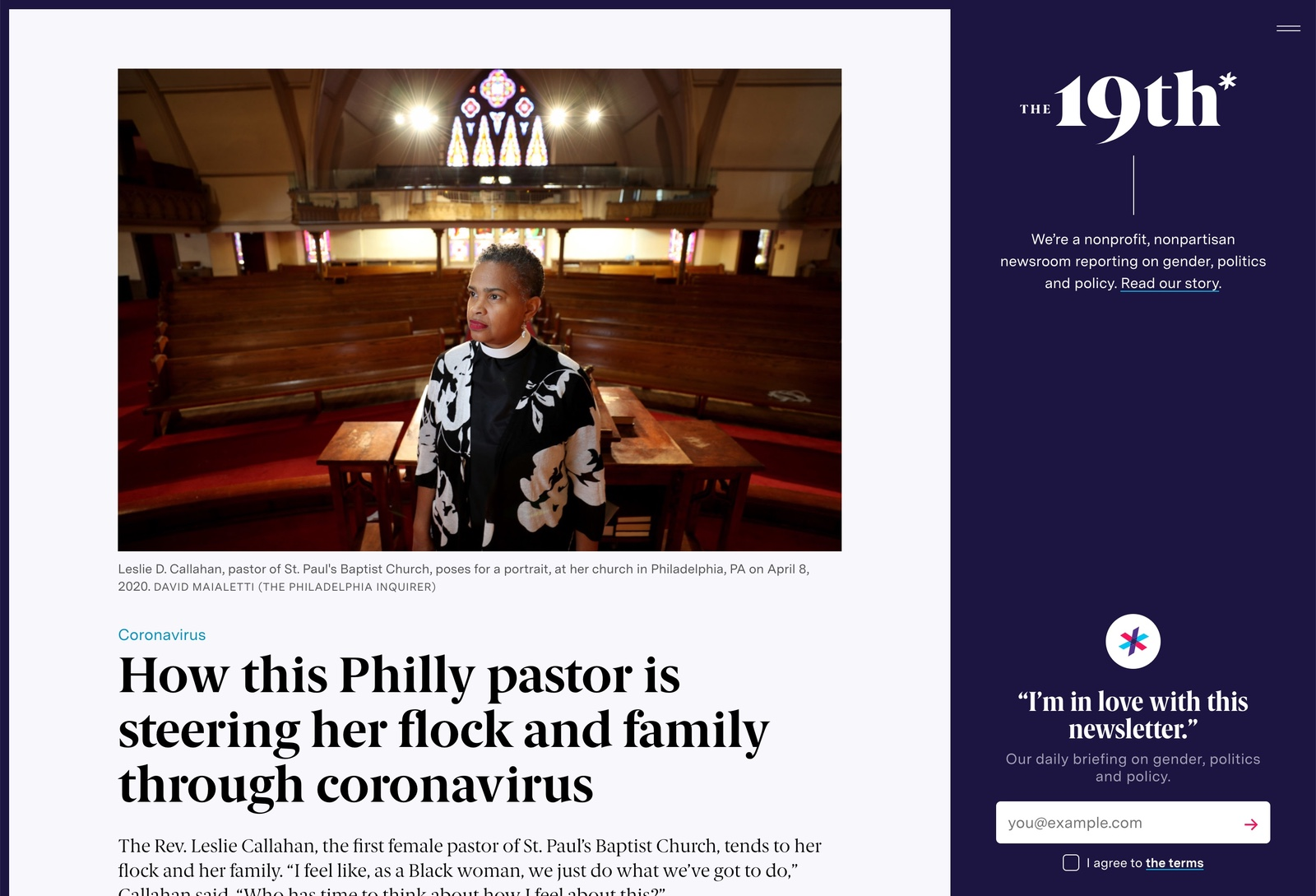 Article: How this Philly pastor is steering her flock and family through coronavirus