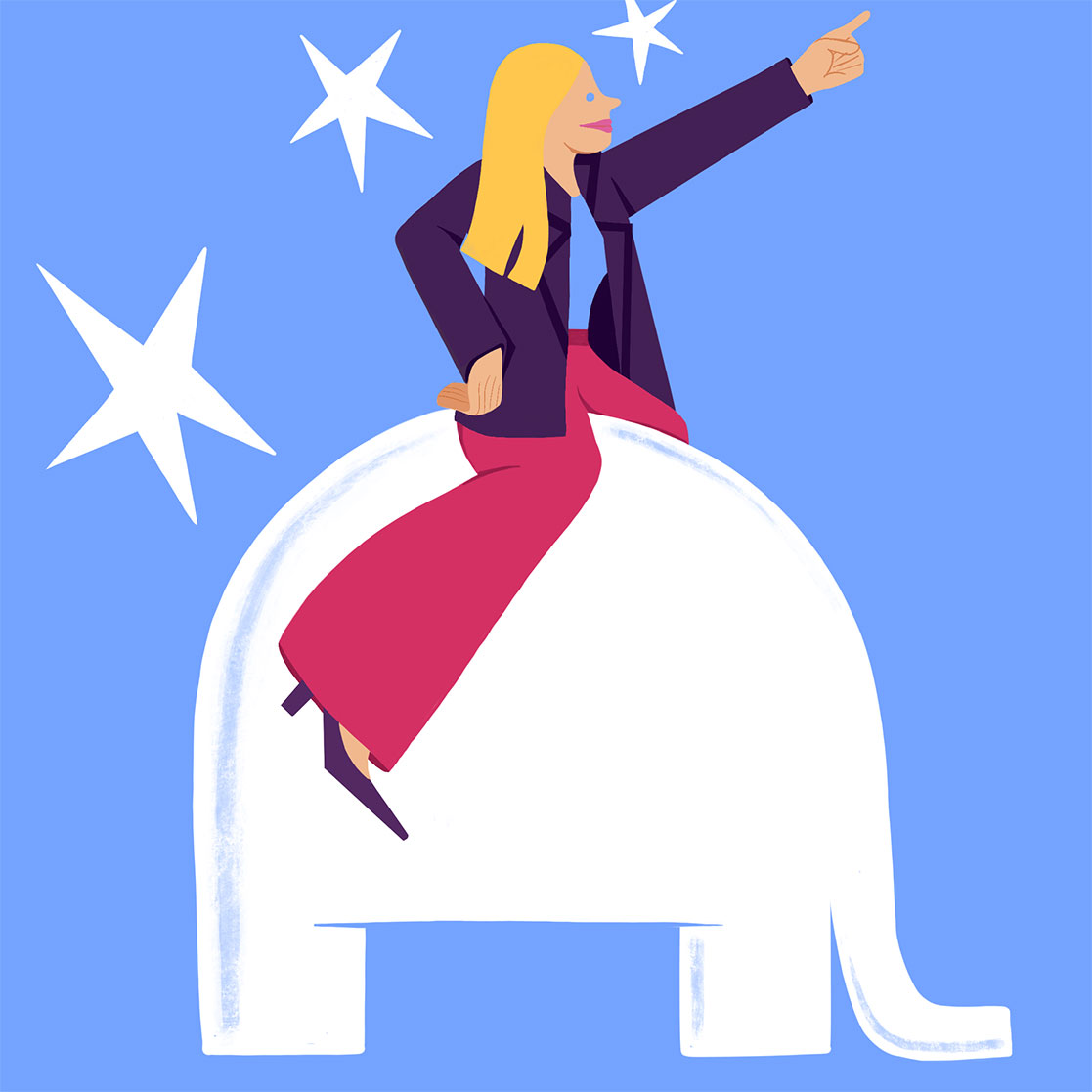 GOP Illustration: Woman riding an elephant pointing forward