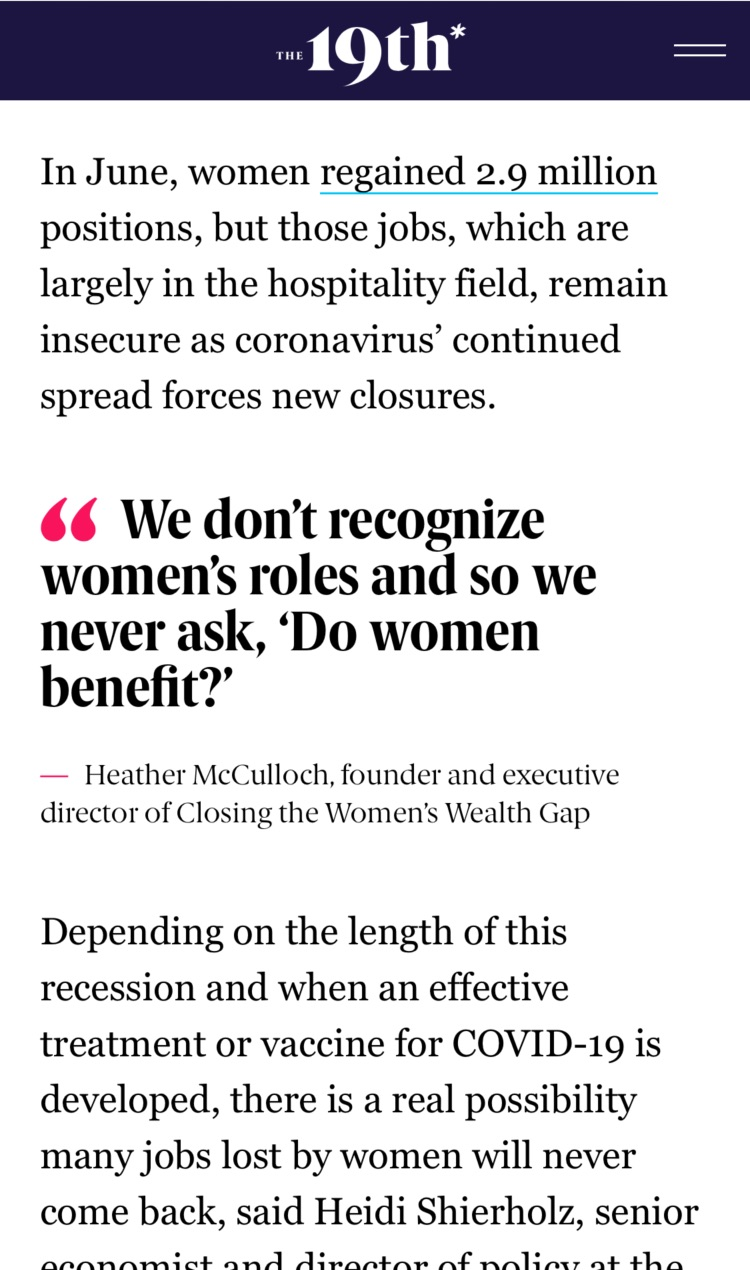 Article with pull quote: We don't recognize women's roles and so we never ask, 'Do women benefit?'