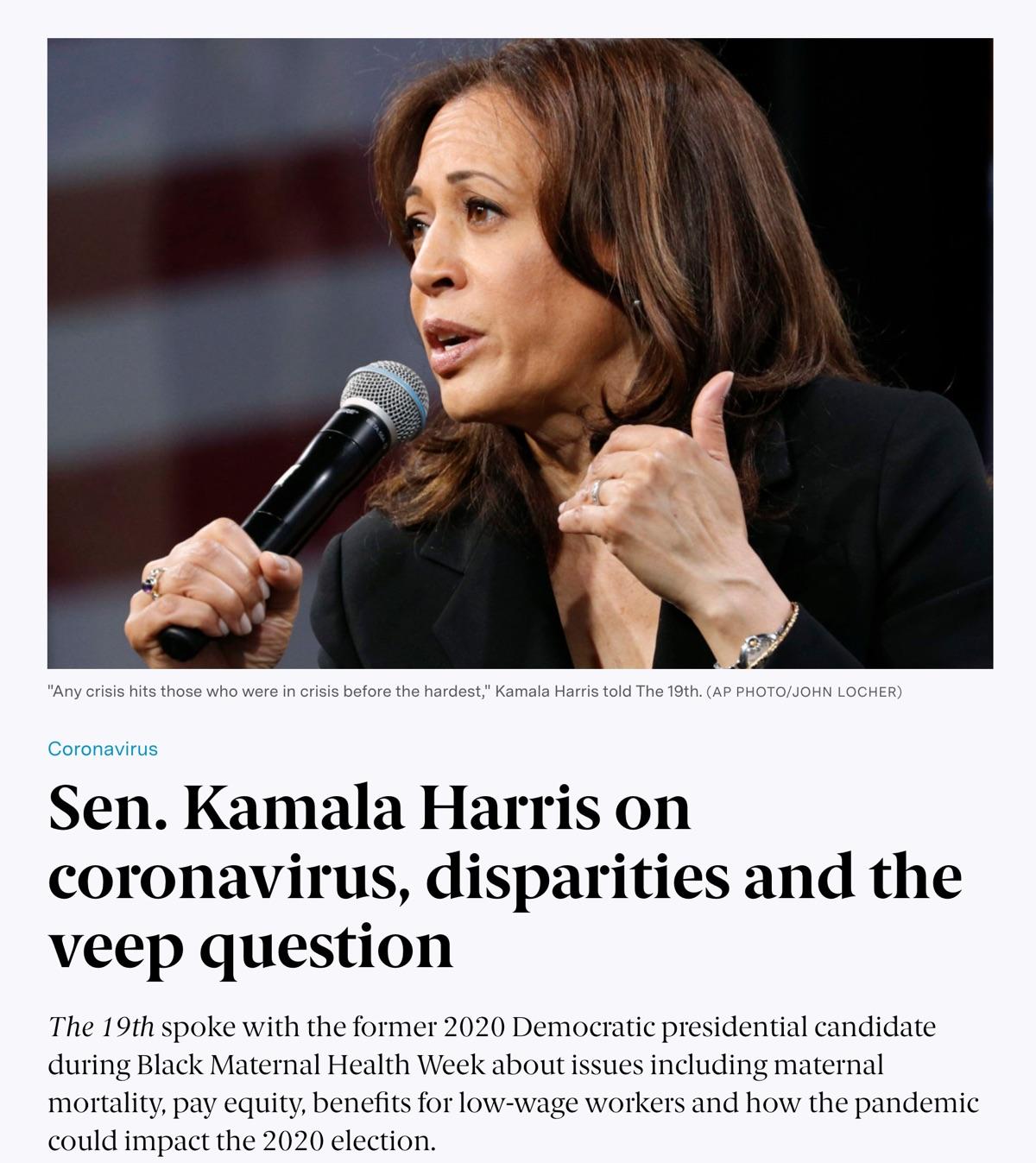 Article: Sen. Kamala Harris on coronavirus disparities and the veep question