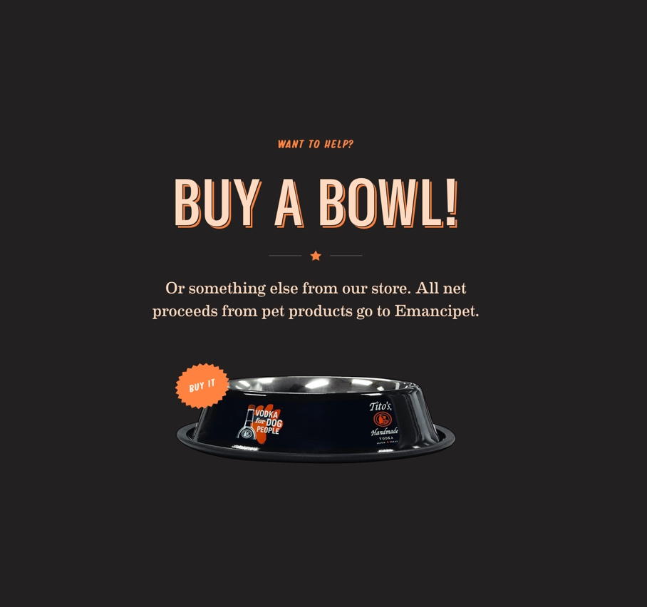 Promo to buy a dog bowl for charity on titosvodka.com