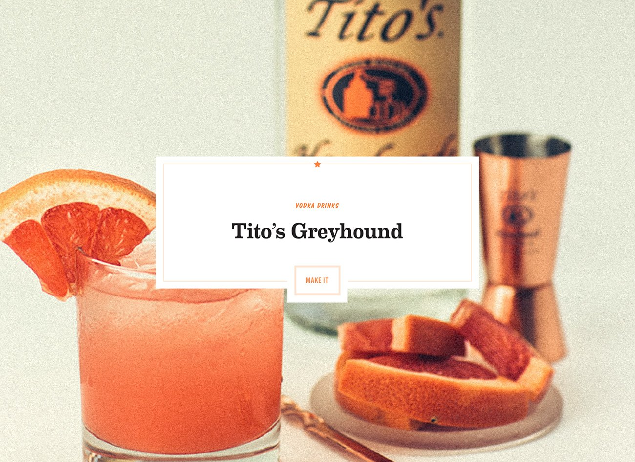 Screenshot of Tito's Greyhound cocktail