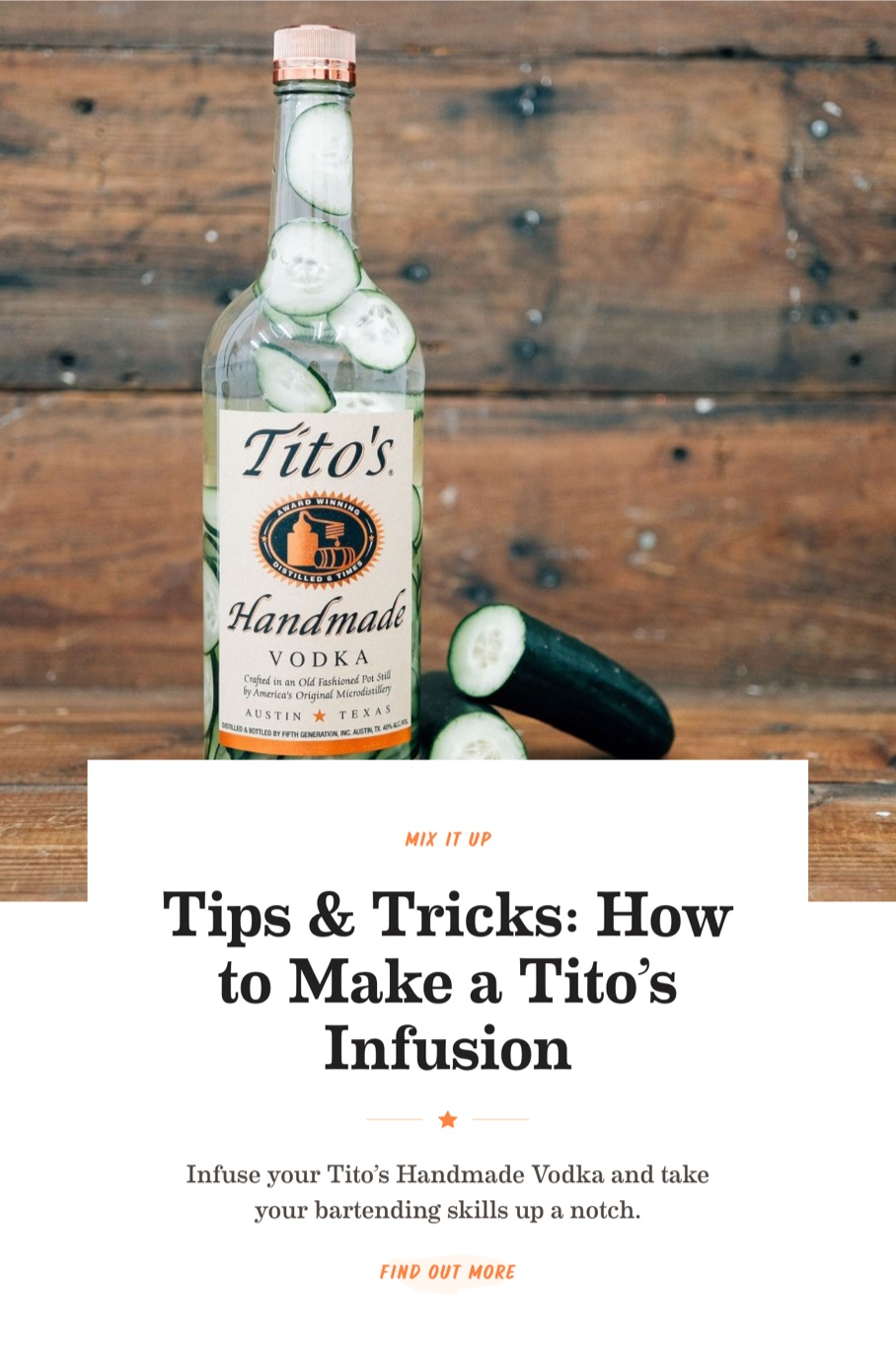 Screenshot of a promo for infusions on titosvodka.com