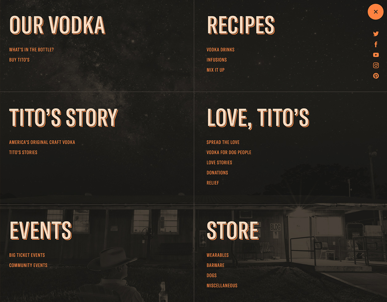 Screenshot of global menu