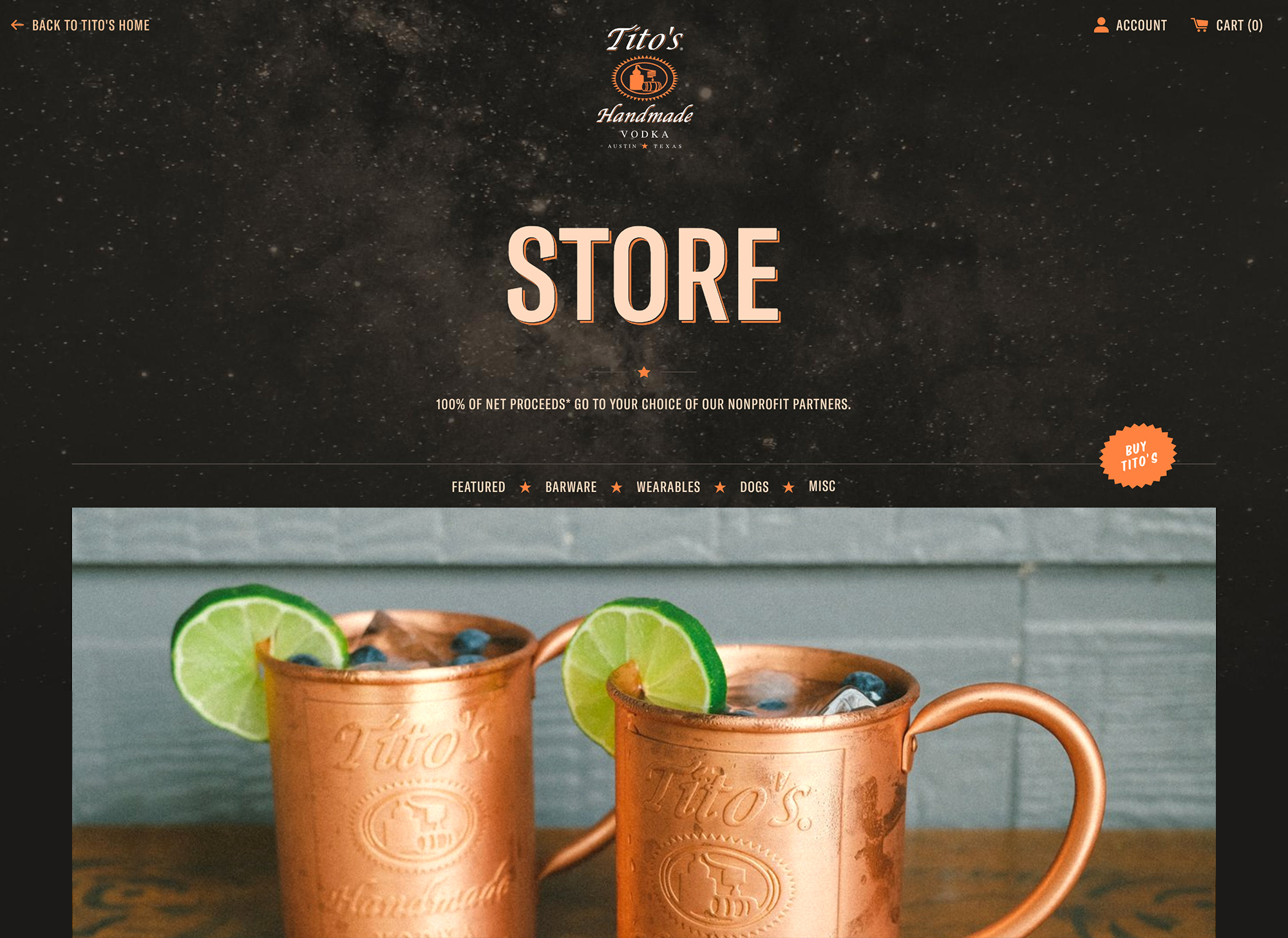 Screenshot of Tito's online store