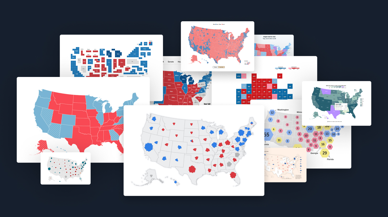 A collage of election results maps